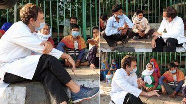 दिल्ली से पैदल घर जा रहे प्रवासी मजदूरों से राहुल गांधी ने की मुलाकात, उनके साथ फुटपाथ पर बैठकर जाना हाल, देखें तस्वीर