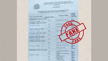 Fact Check: CBSE कक्षा 12 की बोर्ड परीक्षा 2020 का फेक टाइम टेबल सोशल मीडिया पर हुआ वायरल, 18 मई को cbse.nic.in पर जारी होगी असली डेट शीट