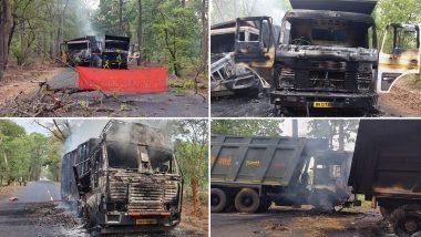 महाराष्ट्र: गढ़चिरौली के धनोरा क्षेत्र में सड़क निर्माण कार्य के लिए लगे तीन ट्रकों को नक्सलियों ने किया आग के हवाले