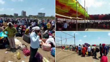 महाराष्ट्र: वसई के सनसिटी ग्राउंड में हजारों की संख्या में उमड़ी मजदूरों की भीड़, सोशल डिस्टेंसिंग की धज्जियां उड़ी