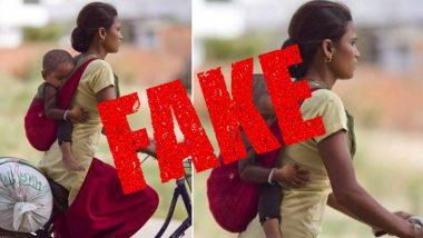 Fact Check: पीठ पर बच्चे को बांधकर साइकिल चलाती महिला की तस्वीर वायरल, जिसमें उसे बताया गया है प्रवासी मजदूर, जानें क्या है इस दावे की सच्चाई
