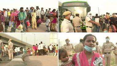 लॉकडाउन 4.0: दिल्ली-गाजीपुर बॉर्डर पर बड़ी संख्या में पहुंचे प्रवासी मजदूर, बसों से घर भेजने की कर रहे हैं मांग