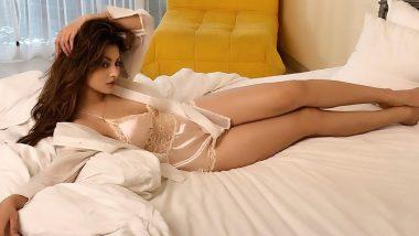 हॉट एक्ट्रेस उर्वशी रौतेला ने बेड पर लेटकरलॉन्जरी मेंपोस्ट की बोल्ड फोटो,उड़ाए फैंस के होश