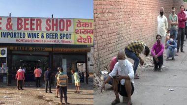 शराब की दुकान खुलने से पहले ही लगी लोगों की लंबी लाइन, देखें हरियाणा के सोहना चौक और दिल्ली के कापसहेड़ा बॉर्डर की तस्वीरें