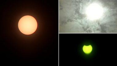 Surya Grahan 2020: सूर्य ग्रहण के दौरान कुछ ऐसा है मुंबई, दिल्ली, जम्मू कश्मीर सहित देश के अन्य हिस्सों का नजारा, देखें इस खगोलीय घटना की अद्भुत तस्वीरें
