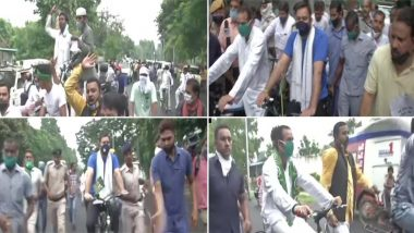 बिहार:पेट्रोल और डीजल की बढ़ती कीमतों के खिलाफ आरजेडी का पटना में विरोध प्रदर्शन, साइकिल से निकले तेजप्रताप-तेजस्वी यादव; देखें वीडियो