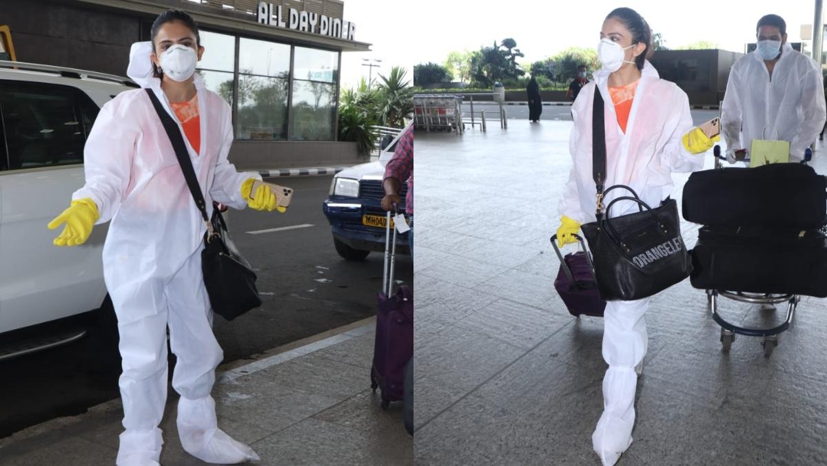 PPE किट् पहनकर एअरपोर्ट पहुंची रकुल प्रीत सिंह, कोरोना से बचाव के लिए हर तरीके अपनाती दिखी एक्ट्रेस