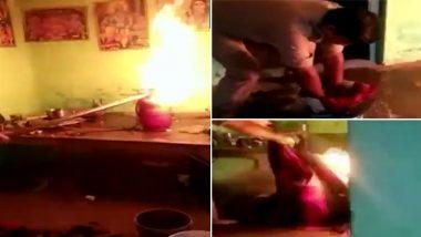 उत्तर प्रदेश: साधु के घर में गैस सिलेंडर में लग गई आग, बुझाने के लिए जूझा पुलिस का जवान, VIDEO देख लोग कर रहे हैं तारीफ