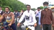दिल्ली कांग्रेस कमेटी के अध्यक्ष अनिल कुमार चौधरी ने पेट्रोल-डीजल की बढ़ती कीमतों के बीच साइकिल मार्च निकाला