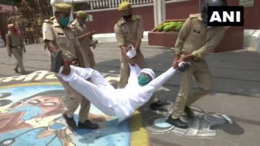 उत्तर प्रदेश राजभवन के सामने 'लोकतंत्र की हत्या' के खिलाफ प्रदर्शन कर रहे कांग्रेस अध्यक्ष समेत कई नेता गिरफ्तार