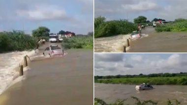 आंध्र प्रदेश: बाढ़ के कारण पुल पार करते समय 2 यात्रियो सहित नदी में बह गई कार, देखें दिल दहला देने वाला वीडियो