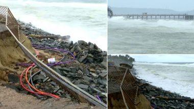 केरल: तिरुवनंदपुरम में शांघुमुघम बीच पर समुद्र की प्रचंड लहरों का तांडव, सड़क के किनारे का हिस्सा हुआ क्षतिग्रस्त (Watch Video)