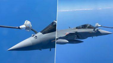 फ्रांस से भारत आने के दौरान हवा में राफेल लड़ाकू विमानों की किया गया रिफ्यूल, कल पहुंचेगा अंबाला एयरबेस