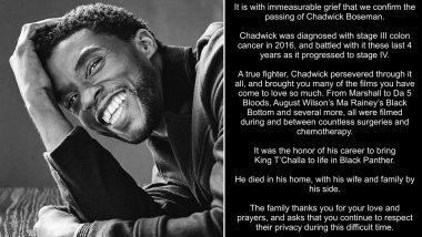 Chadwick Boseman Passes Away: ब्लैक पैंथर स्टार चैडविक बोसमैन का कैंसर के चलते हुआ निधन, परिवार ने आधिकारिक बयान जारी करके दी ये दुखद खबर