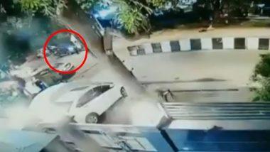 दिल्ली में रफ्तार का कहर: महिला ने BMW कार से मारी आइसक्रीम स्टॉल को टक्कर, हादसे के लिए अपने पालतू कुत्ते को ठहराया जिम्मेदार (Watch Video)