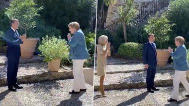 Emmanuel Macron-Angela Merkel Greet With Namaste: फ्रांस के राष्ट्रपति इमैनुएल मैक्रों ने जर्मन चांसलर एंजेला मर्केल को झुककर किया 'नमस्ते', देखें वीडियो