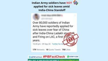 Fact Check: भारत-चीन के बीच बॉर्डर पर जारी तनाव के चलते 80 हजार जवानों ने बीमारी का हवाला देकर मांगी छुट्टी? पीआईबी ने बताई वायरल खबर की सच्चाई