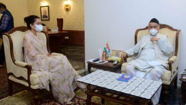 Kangana Ranaut Meets Maharashtra Governor Bhagat Singh Koshyari: कंगना रनौत ने बहन रंगोली चंदेल संग महाराष्ट्र के राज्यपाल भगत सिंह कोशियारी से की मुलाकात (See Pics)