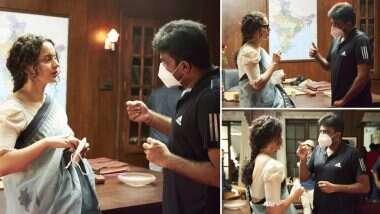 Thalaivi: कंगना रनौत ने शुरू की  फिल्म थलाइवी की शूटिंग, डॉयरेक्टर एएल विजय के साथ शेयर की सेट तस्वीरे