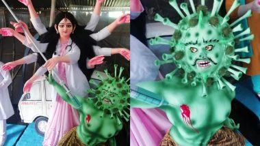 Durga Puja 2020: एक कलाकार ने बनाई मां दुर्गा की अद्भुत प्रतिमा, डॉक्टर के वेश में रही हैं महिषासुर रूपी कोरोना वायरस का वध (See Viral Pics)
