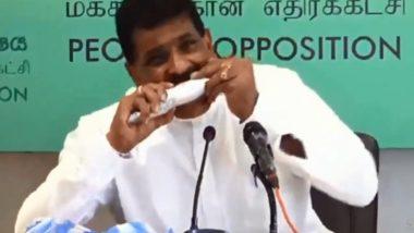 श्रीलंका के पूर्व मत्स्य पालन मंत्री Dilip Wedaarachchi ने सी फूड को लेकर फैली अफवाहों को दूर करने के लिए खाई 'कच्ची मछली' - Video