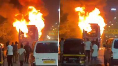 Mumbai: सायन-पनवेल हाईवे पर धूं-धूं कर जली लक्जरी बस, कोई हताहत नहीं- देखें भयावह वीडियो