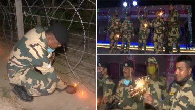 Jammu and Kashmir: BSF के जवानों ने सीमा पर पटाखे फोड़कर मनाई दिवाली, देखें तस्वीरें और वीडियो