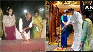 Happy Diwali 2020: उपराष्ट्रपति वेंकैया नायडू, रक्षा मंत्री राजनाथ सिंह ने परिवार के साथ मनाई दिवाली, देखें तस्वीर