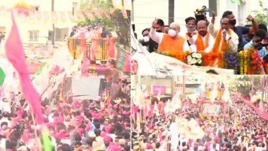 GHMC Elections 2020: रोड शो में उमड़ी भीड़ को देखकर गदगद हुए गृहमंत्री अमित शाह, कहा- चुनाव बाद हैदराबाद में BJP का होगा मेयर