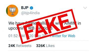 Fact Check: क्या पश्चिम बंगाल विधानसभा चुनाव 2021 के लिए बीजेपी ने ओवैसी की पार्टी AIMIM के साथ कर लिया है गठबंधन? फेक ट्वीट का स्क्रीनशॉट हुआ वायरल