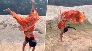 Stunt in a Sari! अंतरराष्ट्रीय योग गोल्ड मेडलिस्ट मिली सरकार ने साड़ी में किया कमाल का Somersault, वीडियो हुआ वायरल