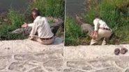 नशे में धुत युवक मगरमच्छ की पीठ पर हाथ फेर कर रहा था बात, फिर जो हुआ...देखें वीडियो