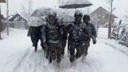 ना के जवान भारी बर्फबारी में लगभग 6-किलोमीटर तक महिला को कंधे पर उठाकर पैदल चले.