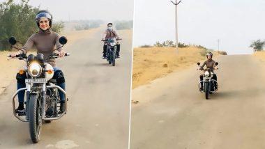 Kriti Sanon ने बाइक राइड पर जमकर किया एन्जॉय, देखें Video