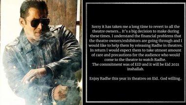 Salman Khan की फिल्म 'Radhe: Your Most Wanted Bhai' थिएटर्स में होगी रिलीज, दबंग एक्टर ने की पुष्टि