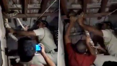 Mumbai Cop Rescues 6-Foot Python: धारावी के एक घर से पुलिस ने निकाला 6 फुट लंबा अजगर, देखें वीडियो
