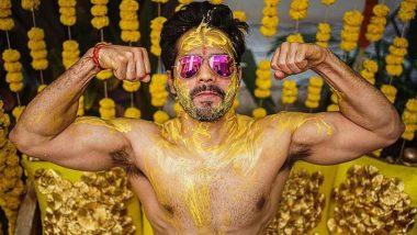 Varun Dhawan Weds Natasha Dalal: वरुण धवन ने हल्दी सेरेमनी की तस्वीरें की शेयर, शर्टलेस फोटो हुई वायरल