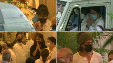 RIP Rajeev Kapoor: पंचतत्व में विलीन होने के लिए रवाना हुआ राजीव कपूर का पार्थिव शरीर, रणबीर कपूर, शाहरुख खान, आलिया भट्ट आए नजर (See Pics)