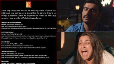 Yash Raj Films ने साल 2021 में रिलीज होने वाली फिल्मों का किया ऐलान, जानिए कब, कौन सी फिल्में आएंगी सिनेमाघरों में