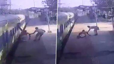 Navi Mumbai: आरपीएफ जवान ने दिव्यांग व्यक्ति को ट्रेन से गिरने से बचाया, देखें वायरल वीडियो