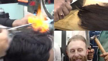 आग, हथौड़ा और कसाई के चाकू से ग्राहकों के बालों को स्टाइल करता है लाहौर का यह नाई, Viral Video देख आप भी रह जाएंगे दंग
