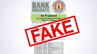 Bank Holidays: 27 मार्च से 4 अप्रैल के बीच केवल एक दिन खुला रहेगा बैंक? जानिए इस वायरल खबर का सच