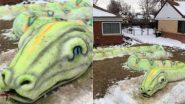 Giant Snake! 77 फीट लंबे विशालकाय सांप को देख उड़ जाएंगे आपके होश, स्नो आर्टिस्ट ने बर्फ से किया है तैयार (Watch Pics & Video)