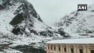 उत्तराखंड: बर्फ की सफेद चादर से ढका बद्रीनाथ धाम, चमोली जिले के कई गांवों में सुबह से हो रही है बर्फबारी