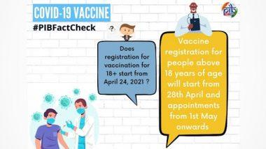 Fact Check: 18 साल से ऊपर के लोग 24 अप्रैल से कोविड-19 वैक्सीन के लिए कर सकते हैं रजिस्ट्रेशन? PIB से जानें सच्चाई