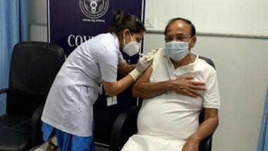 Delhi: उपराष्ट्रपति वेंकैया नायडू नें एम्स में कोरोना वायरस वैक्सीन की दूसरी डोज लगवाई