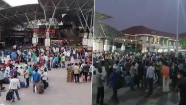 Maharashtra: पुणे स्टेशन पर दिखी प्रवासी मजदूरों की भारी भीड़, कोरोना के बढ़ते मामलों के बीच लॉकडाउन के डर से कर रहे हैं पलायन
