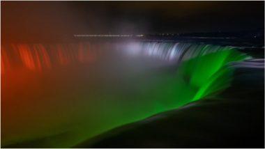 Niagara Falls: कोरोना के खिलाफ जंग लड़ रहे भारत के समर्थन के लिए तिरंगे के रंग में रंगा नियाग्रा जलप्रपात