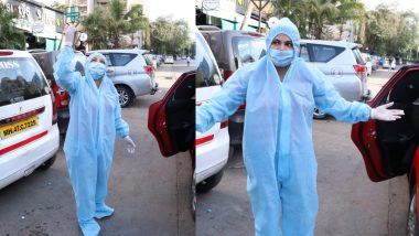 PPE किट्स पहनकर सब्जी खरीदने पहुंची राखी सावंत, लोगों से की अपील (Video)