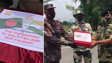 West Bengal: ईद-उल-फितर के अवसर पर भारत-बांग्लादेश बॉर्डर पर BSF और BGB के जवानों ने आपस में बांटी मिठाई
